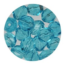 Faceted Fire Polish Beads Czech Glass 8mm Aqua - $7.94