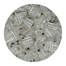 Flat Rectangle Bead Glass 3x5mm Czech Silver Rocaille - $7.94