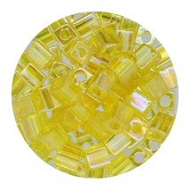 Square Glass Beads Japan 4mm Miyuki Cube Transparent Yellow Ab - $6.96