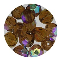 Faceted Fire Polish Beads Czech Glass 8mm Smoke Topaz AB - $7.94