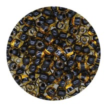Glass Triangle Bead 8/0 Japan Lined Gold Black Lus - $7.94