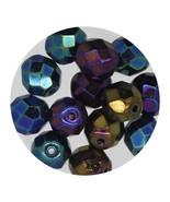 Faceted Fire Polish Beads Czech Glass 8mm Opaque Blue Iris - $7.94
