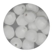 Faceted Fire Polish Beads Czech Glass 8mm Chalk White - $7.94