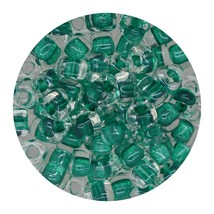Glass Triangle Bead 5/0 Japan  Sparkle Green Lined - $7.94