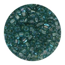 Glass Triangle Bead 8/0 Japan Lined Aqua Shimmering Green Ab - $7.94