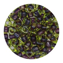 Glass Triangle Bead 5/0 Japan  Amethyst Lined Lemon - $7.94