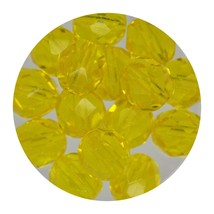 Faceted Fire Polish Beads Czech Glass 8mm Dark Yellow - $7.94