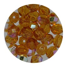 Faceted Fire Polish Beads Czech Glass 6mm Topaz AB - $7.94
