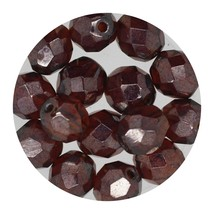 Faceted Fire Polish Beads Czech Glass 8mm Luster Madeira - $7.94
