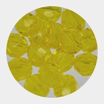 Faceted Fire Polish Beads Czech Glass 8mm Light Yellow - $7.94