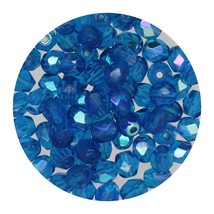 Faceted Fire Polish Beads Czech Glass 4mm Capri Ab - $7.94
