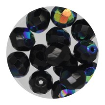 Faceted Fire Polish Beads Czech Glass 8mm Jet AB - $7.94