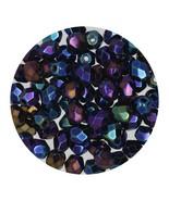 Faceted Fire Polish Beads Czech Glass 4mm Opaque Blue Iris - $7.94