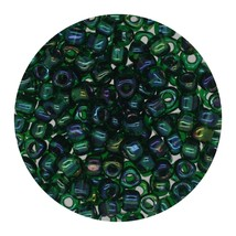 Glass Triangle Bead 8/0 Japan Lined Green Shimmering - $7.94