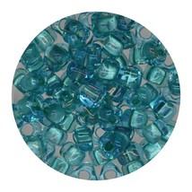 Glass Triangle Bead 5/0 Japan  Aqua Lined Blue - $7.94