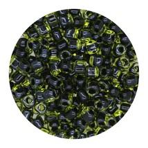 Glass Triangle Bead 8/0 Japan Black Lined Lemon - $7.94