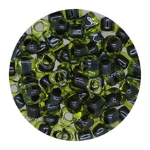 Glass Triangle Bead 5/0 Japan  Black Lined Lemon - $7.94