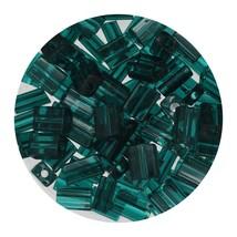 Flat Rectangle Bead Glass 3x5mm Czech Transparent Emerald - $7.94