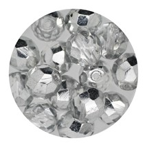 Faceted Fire Polish Beads Czech Glass 8mm Crystal Silver - $7.94