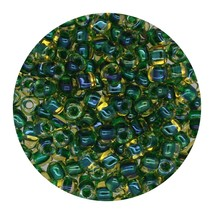 Glass Triangle Bead 8/0 Japan Lined Amber Green Ab - $7.94