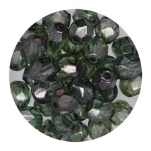 Faceted Fire Polish Beads Czech Glass 6mm Loden Decora - $7.94