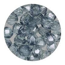 Faceted Fire Polish Beads Czech Glass 6mm Aqua Indigo Decora - $7.94
