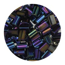 Flat Rectangle Bead Glass 3x5mm Czech Opaque Black Iris - $7.94