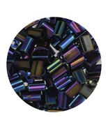 Flat Rectangle Bead Glass 3x5mm Czech Opaque Black Iris - $7.94
