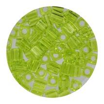 Square Glass Beads Japan 4mm Miyuki Cube Transparent Lime - $6.94