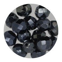 Faceted Fire Polish Beads Czech Glass 8mm Shiny Gray - $7.94