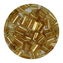 Flat Rectangle Bead Glass 3x5mm Czech Light Gold Rocaille - $7.94