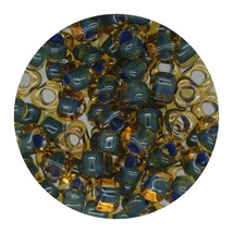 Glass Triangle Bead 5/0 Japan  Blue Green Lined Topaz - $7.94