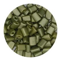 Flat Rectangle Bead Glass 3x5mm Czech Metallic Olive Gold - $7.94