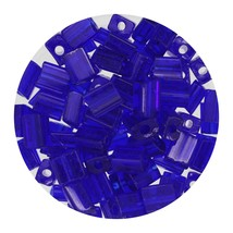 Flat Rectangle Bead Glass 3x5mm Czech Transparent Cobalight - $7.94