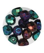 Faceted Fire Polish Beads Czech Glass 8mm Opaque Green Iris - $7.94