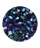 Faceted Fire Polish Beads Czech Glass 6x4mm Opaque Blue Iris - $6.94