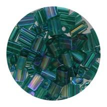 Flat Rectangle Bead Glass 3x5mm Czech Transparent Iris Emerald - $7.94