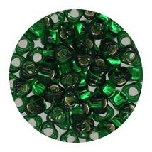 Glass Triangle Bead 5/0 Japan  Silver Lined Dark Emerald - $7.94
