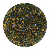 Glass Triangle Bead 8/0 Japan Forest Green Lined Amber - $7.94
