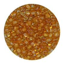 Glass Triangle Bead 8/0 Japan Lined Amber Yellow Ab - $7.94