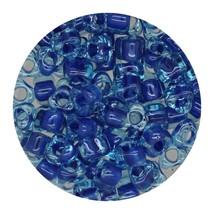 Glass Triangle Bead 5/0 Japan  Dark Blue Lined Aqua - $7.94