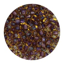 Glass Triangle Bead 8/0 Japan Lined Amber Lavender Ab - $7.94