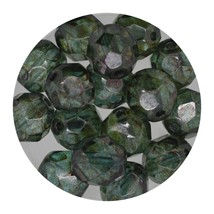 Faceted Fire Polish Beads Czech Glass 8mm Loden Decora - $7.94