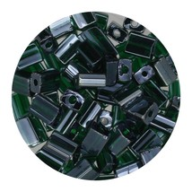 Flat Rectangle Bead Glass 3x5mm Czech Transparent Luster Dark Green - $7.94