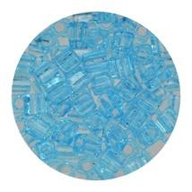 Square Glass Beads Japan 4mm Miyuki Cube Transparent Light Blue - $6.95