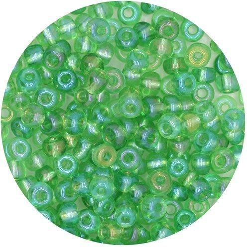 Primary image for Czech Glass Seed Beads Size 6/0 ( E beads) Transparent Iris Med Green