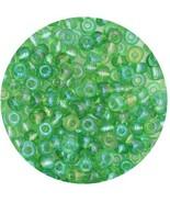 Czech Glass Seed Beads Size 6/0 ( E beads) Transparent Iris Med Green - $7.92