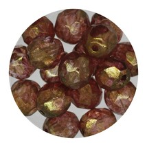 Faceted Fire Polish Beads Czech Glass 8mm Heather Decora - $7.94