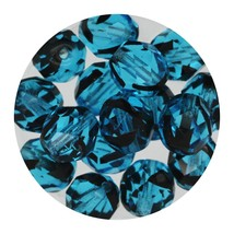 Faceted Fire Polish Beads Czech Glass 8mm Black Aqua Ombre - $7.94