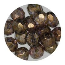 Faceted Fire Polish Beads Czech Glass 8mm Cinnamon Decora - $7.94
